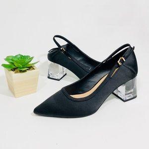 New Zara clear block heel satin shoes